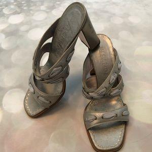 Jil Sander Distressed Silver Leather Ribbon Slides
